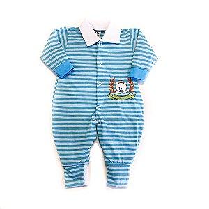 Macacão Bebê Listrado Azul
