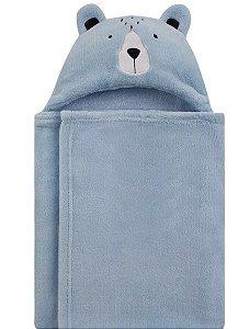 Manta com Capuz Ursinho Azul
