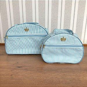Kit bolsa listradinha azul claro
