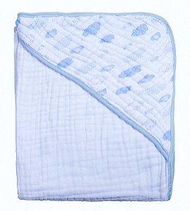 Toalha Soft Nuvens Azul Papi