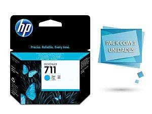 Cartucho de tinta HP 711 Ciano PLUK 29ml (3 unid) - CZ134AB