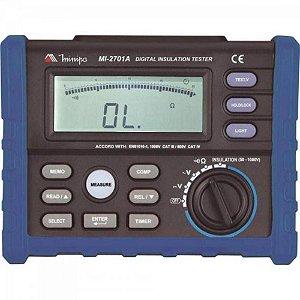 Megômetro Digital/ Iluminação/Teste ACV e DCV/ Memória de 20 registros   Medidas até 10GΩ - Minipa MI-2701A