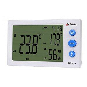 Relógio Termo-Higrômetro Int / Visor Maior / Display branco - Minipa MT-242A