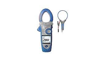 Alicate Wattímetro Amperímetro C/ Garra flexível Cat.IV -  4 Dig./TrueRMS AC+DC/1000A AC/DC (aparelho) 3000A (garra flex)/Harmônicas/IN-RUSH/THD/Rotação de Fase/NCV - MINIPA ET-4095