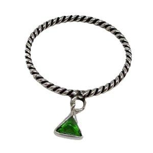 Anel Aliança Triângulo Verde
