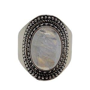 Anel Pedra da Lua Luxo Prata 925
