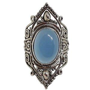 Anel Calcedônia Boho Luxo Prata 925