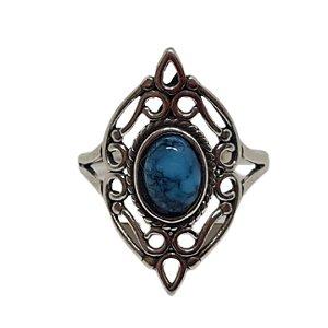 Anel Howlita Azul Boho Prata 925