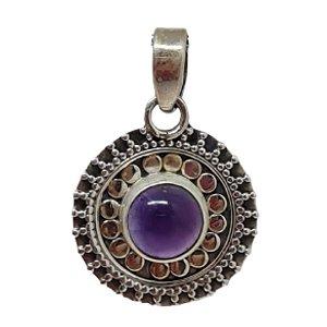 Pingente Ametista Mandala Prata 925