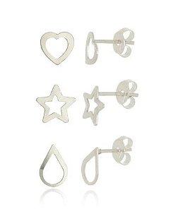 Brinco kit conjunto trio brincos coração estrela gota
