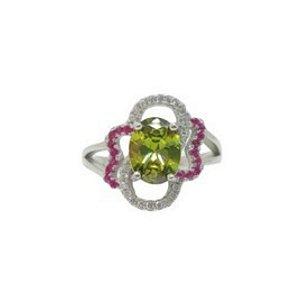 Anel peridoto arco-iris