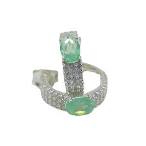 Brinco argola elegante quartzo verde