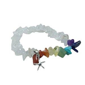 Pulseira pedras arco-íris estrela do mar