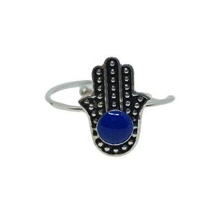 Anel lápis lazuli hamsa regulável