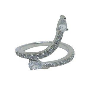 Anel zig zag cristal Prata 925