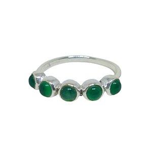 Anel aliança mini pedras Jade