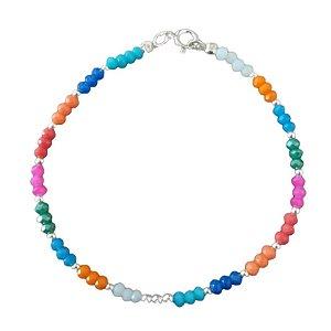 Pulseira cristais pink, laranja e azul