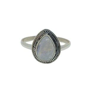 Anel Pedra da Lua Gota Trançada Prata 925