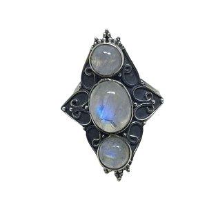 Anel Pedra da Lua triplo Luxo