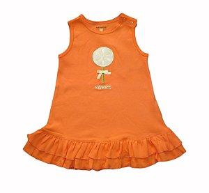Vestido Bebê com Bordado - Laranja