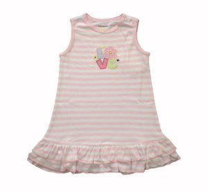 Vestido Bebê Listrado - Rosa