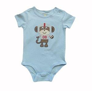 Body Bebê Azul Macaquinho