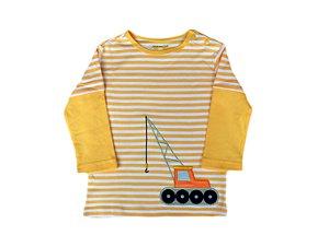 Camiseta Bebê Listrada Manga Longa Tratorzinho