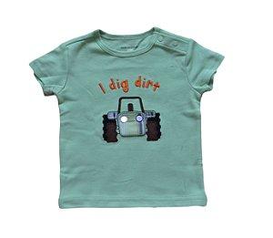 Camiseta Bebê com Tratorzinho - Verde