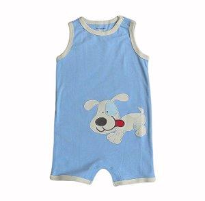 Macaquinho Bebê Azul Cachorrinho Feliz