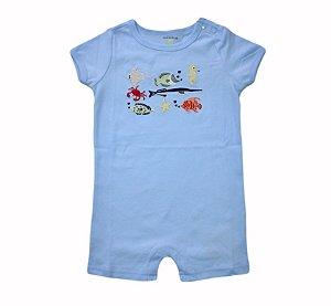 Macaquinho Bebê Azul com Peixinhos