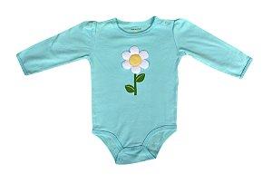 Body Bebê Manga Longa com Florzinha