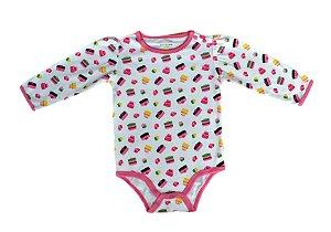 Body Bebê Manga Longa com Bolinhos