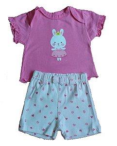 Conjunto Bebê Camiseta e Shorts Pink