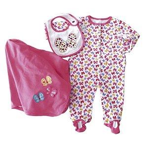 Conjunto Bebê Borboletas com 3 peças - manta macacão e babador