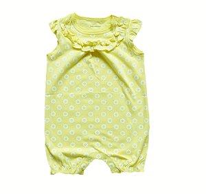 Macaquinho Bebê Amarelo com florzinhas