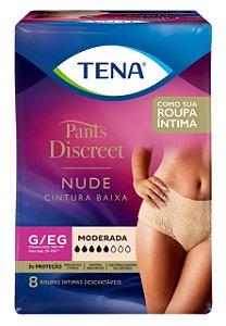 ROUPA ÍNTIMA TENA PANTS DISCREET NUDE - tam. G/EG - 8 unid.