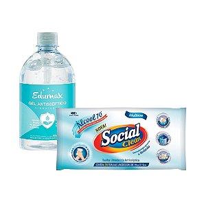ÁLCOOL GEL EDUMAX 500mL + TOALHA UMEDECIDA ANTISSÉPTICA SOCIAL CLEAN 36 unid.