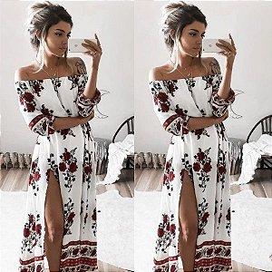 Vestido Longo Floral Ombro a Ombro com Fenda Lateral