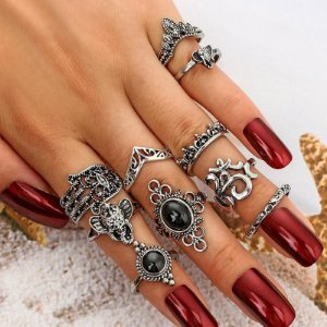 Conjunto com 10 anéis Elefante/Hamsá