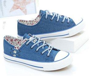 Tênis Feminino Jeans Floral Delicado