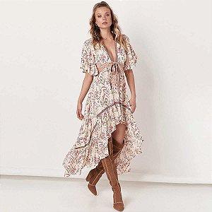 Vestido Mullet Estampado Hippie Chic
