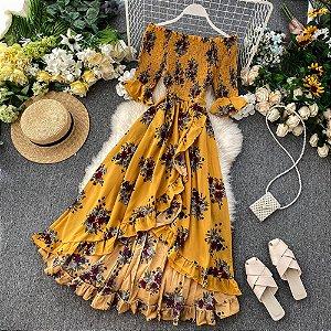 Vestido Mullet Longo Floral Transpassado