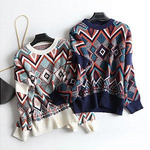 Suéter de Tricô Geométrico