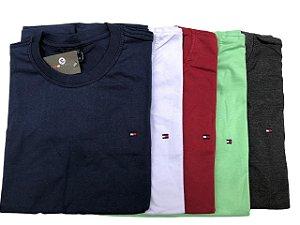 Kit Com 5 Camisetas Básica Manga Curta Tommy
