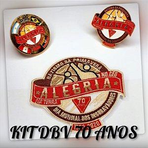 KIT DBV 70 anos - Trunfo, Pin e Prendedor 3 anéis (FRETE INCLUSO)