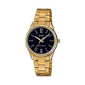 Relógio Casio Feminino Dourado Fundo Preto + NF