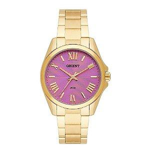Relogio Feminino Dourado Orient Fundo Rosa FGSS0079 R3KX