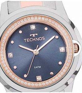 17d8544d63a Relogio Feminino Prata E Rose Technos Fundo Azul Com Pedras zoom