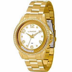 Relogio Feminino Dourado Lince Pedra Strass LRG4245L B2KX