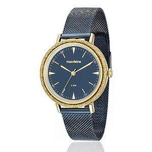 Relogio Feminino Azul Com Dourado Mondaine 89001lpmvle4